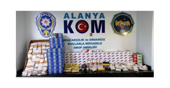 6.5 kilo kaçak tütün, kaçak tütünle doldurulmuş 34 bin 800 makaron ele geçirildi,