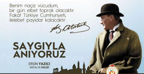 Antalya Valisinden 10 Kasım Mesajı